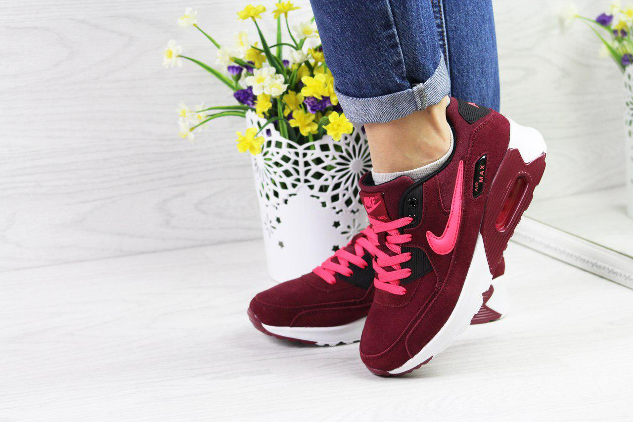 9bd1485a Женские кроссовки Nike Air Max 90 стильные топовые удобные (бордовые),  ТОП-реплика
