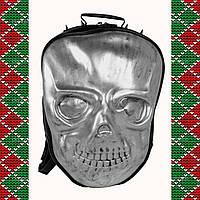 Мужской черный кожаный рюкзак 3D, с черепом