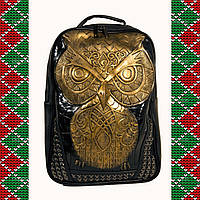 Мужской черный кожаный рюкзак 3D, с совой