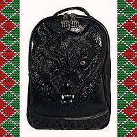 Мужской черный кожаный рюкзак 3D, с волком