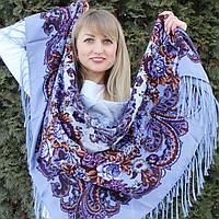 Ніжний жіночий хустку з квітами (120х120см, 80%-шерсть), фото 1
