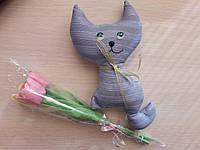 Набор букет тюльпанов + котик Чин.