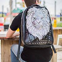 Мужской черный кожаный рюкзак 3D со львом