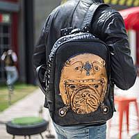 Мужской черный кожаный рюкзак 3D с собакой, с мопсом