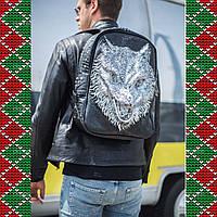 Мужской черный кожаный рюкзак 3D с волком