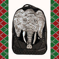Мужской черный кожаный рюкзак 3D со слоном