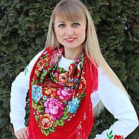 Модный платок для девушки красного цвета (100х100см, 80%-шерсть, красный), фото 1