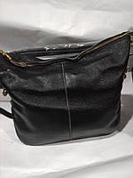 Женская кожаная сумка черная через плечо вместительная