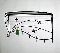 Вешалка кованая настенная овальная 70 см, черная, фото 1