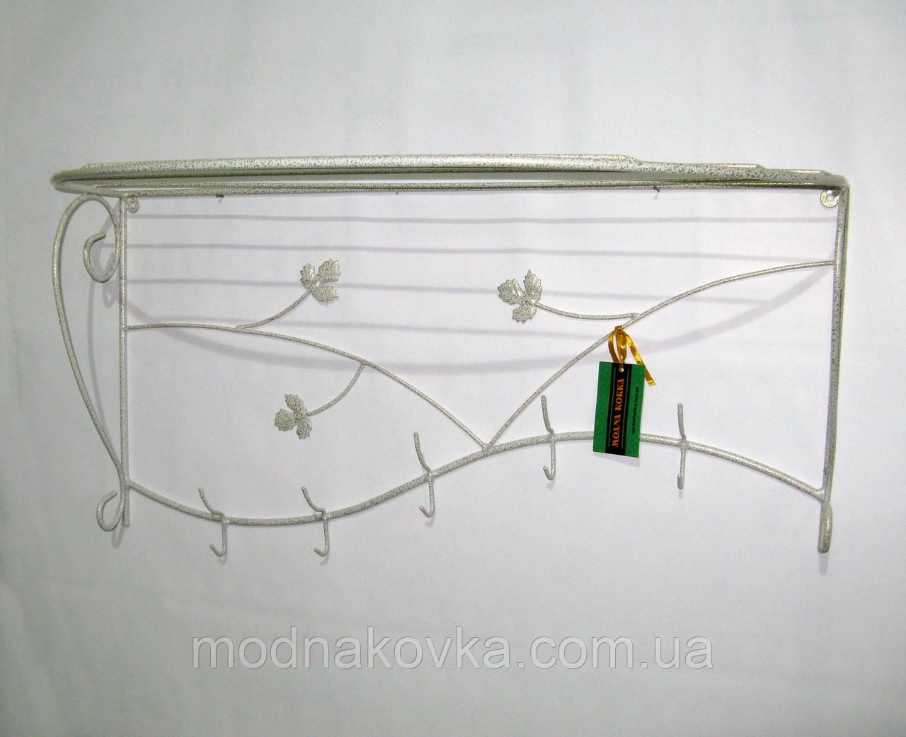 Вешалка кованая настенная 80 см, белая