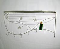 Вешалка кованая настенная 80 см, белая, фото 1