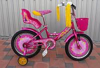 """Велосипед двухколёсный Azimut Girls 18"""" дюймов с корзинкой+сиденье для куклы, розовый"""