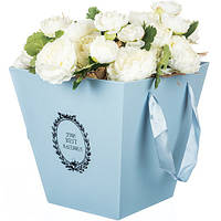 Трапециевидная коробка для цветов ( голубая )
