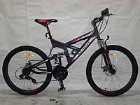 Горный подростковый велосипед 24 дюйма  Azimut Shock  черно-серый