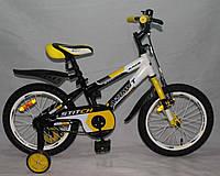 "Велосипед двухколёсный Azimut Stitch А 16"" дюймов желтый"