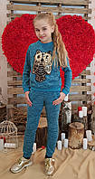 Модный прогулочный костюм для девочки мята Сова трикотаж ангора апликац 116, 134см