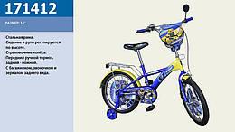 Велосипед 2-х колес 14'' со звонком,зеркалом,руч.тормоз /1/