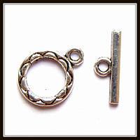 """Замок тогл """"круглый"""" серебро (1,6х1,2, h 1,5 см) 8 шт в уп"""
