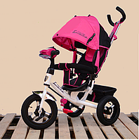 Велосипед трехколесный Azimut Air Lambortrike L2B( Lamborghini) розовый надувных колесах с фарой