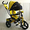 Трехколесный велосипед-коляска Azimut Crosser T-400 желтый на надувных колесах