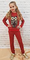 Модный прогулочный красний костюм для девочки Сова  трикотаж ангора аппликация 140, 146см