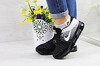 Женские кроссовки Nike Flyknit Air Max (черные с белым), ТОП-реплика, фото 1