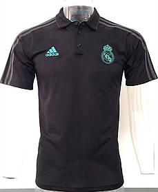 Клубная футболка поло Реал Мадрид, Real Madrid, черная, с воротником, Ф3631