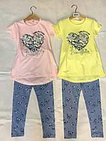 Летний костюм для девочек с лосинами