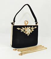 Велюровая сумочка, клатч Rose Heart 1661 черный