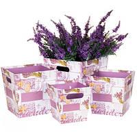 Комплект коробок для цветов ( 4 шт ) розовый