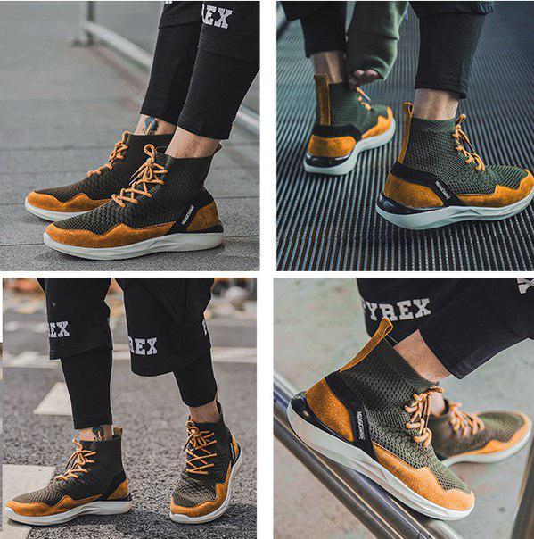 Высокие молодежные кроссовки на шнуровке