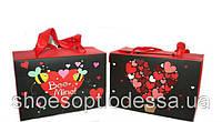 Подарочные пакеты коробочки Сердечки 23х16х11 см микс, фото 1
