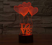 """3D светильник """"4 сердца"""""""