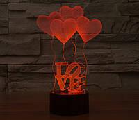 """3D светильник """"4 сердца"""", фото 1"""