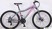 Горный подростковый велосипед 26 дюйма (14 рама) Azimut   CROSSER SWEET (2017 года) серо-розовый***