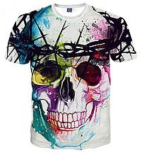 Яркая качественная 3D modern art  футболка размер L  ЧЕРЕП Dia de los Muertos