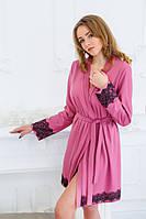 Стильный домашний халат трикотажный с кружевом шантильи (реснички) Фрез