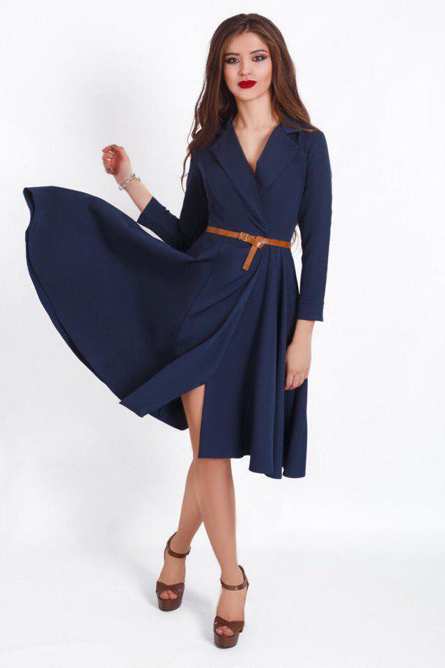 """Приталенное платье-миди на запах """"Riona"""" с поясом (4 цвета)"""