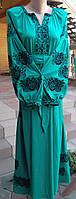 """Вишивана сукня  """"Троянда""""  тканина льон зелений"""