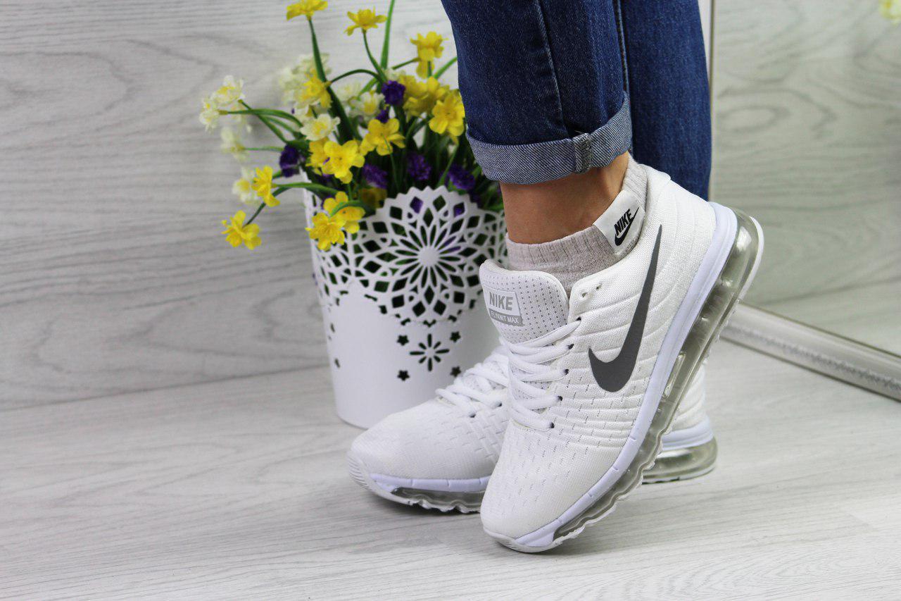 Женские кроссовки Nike Flyknit Air Max (белые), ТОП-реплика
