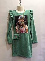 Платье туника 3D с крылышками р.140-152