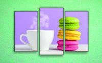 """Модульна картина """"Чай і макаруни"""""""