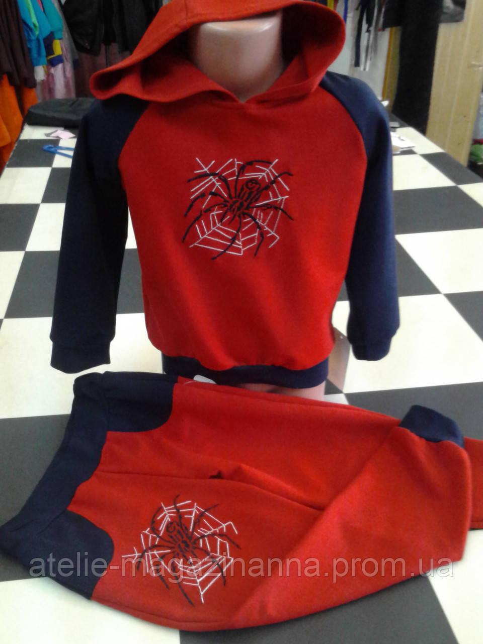 Спортивный детский костюм с логотипом человек- паук, с капюшоном 98-146