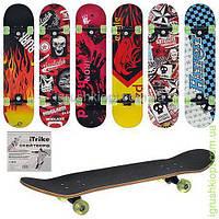 0355 Скейт, цветные колеса, алюм подвеска, 6 видов