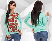 Стильный женский свитшот (кофта) с яблоками. 3 цвета!, фото 1