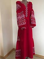 """Сукня вишита """"Пристрасть"""" тканина льон червоний"""
