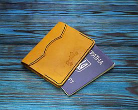 Обложка для паспорта из натуральной кожи (282030) - желтая
