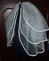 Фата трехярусная с атласной лентой, длина 70 см
