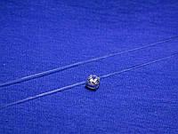 Камушек на силиконовой нитке с серебром 37 см 1514/1, фото 1