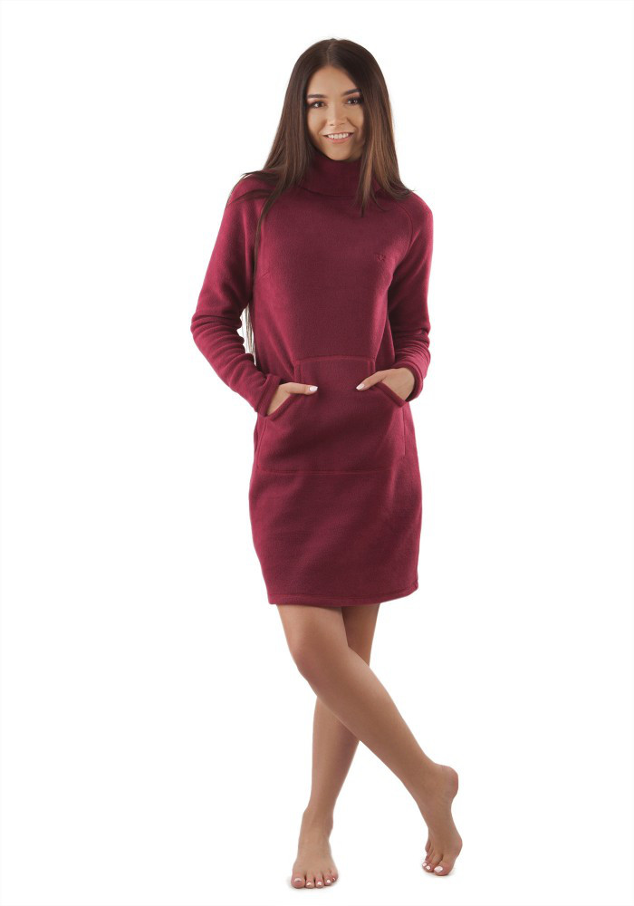 Теплое флисовое платье с карманом кенгуру. Расцветки в ассортименте
